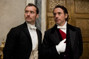 Photo by Daniel Smith/Warner Bros. Pictures (From left) JUDE LAW as Dr. James Watson and ROBERT DOWNEY JR. as Sherlock Holmes