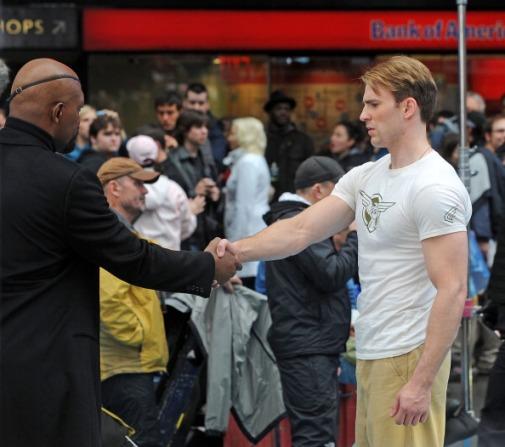 Captain America the First Avenger Samuel L Jackson and Chris Evans