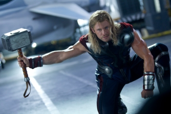 Courtesy Walt Disney PicturesThor (Chris Hemsworth) readies for another battle.