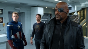 Courtesy Walt Disney Pictures [From left] Captain America (Chris Evans), Tony Stark (Robert Downey Jr.) and Nick Fury (Samuel L. Jackson)