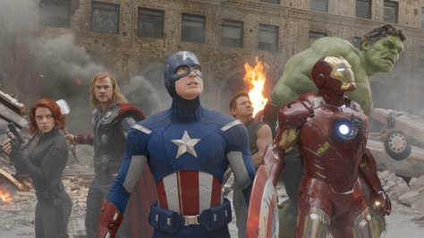 Courtesy Walt Disney Pictures [From Left] Black Widow (Scarlett Johansson), Thor (Chris Hemsworth), Captain America (Chris Evans), Hawkeye (Jeremy Renner), Iron Man (Robert Downey Jr.), and Hulk (Mark Ruffalo) prepare for the final battle