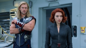 Courtesy Walt Disney Pictures Thor (Chris Hemsworth) and Black Widow (Scarlett Johansson)