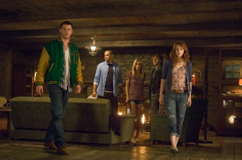 "Lionsgate Publicity[From left] Curt (Chris Hemsworth), Holden (Jesse Williams), Jules (Anna Hutchison), Marty (Fran Kranz) and Dana (Kristen Connolly) in ""THE CABIN IN THE WOODS."""