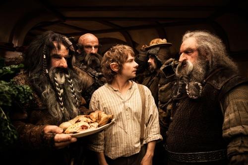 "Warner Bros.[From left] Bifur (William Kircher), Dwalin (Graham McTavish), Bilbo Baggins (Martin Freeman), Bofur (James Nesbitt) and Oin (John Callen) in the fantasy adventure ""The Hobbit: An Unexpected Journey."""