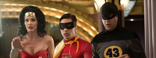 "Jessica Miglio/Relativity Media [From left] Leslie Bibb as Wonder Woman, Justin Long as Robin and Jason Sudeikis as Batman in Relativity Media's ""Movie 43."""