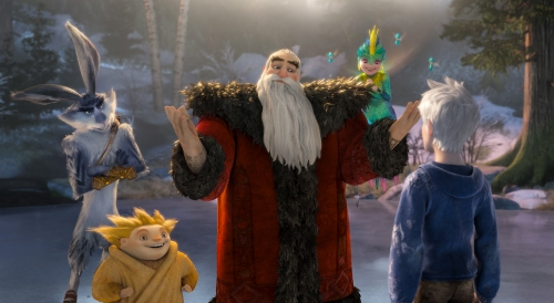 DreamWorks Animation [From left] Bunnymund (Hugh Jackman), Sandman, North (Alec Baldwin) and Tooth (Isla Fisher) welcome Jack Frost (Chris Pine).