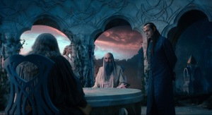 Warner Bros. PicturesGaladriel (Cate Blanchett), Saruman (Christopher Lee), Elf Lord Elrond (Hugo Weaving) confer with Gandalf (Ian McKellen).