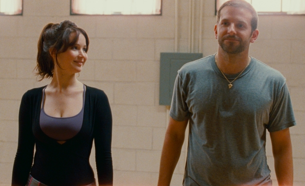 "The Weinstein CompanyTiffany (Jennifer Lawrence) and Pat (Bradley Cooper) prepare for rehearsal in ""Silver Linings Playbook."""