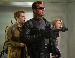 Arnold Schwarzenegger, Nicholas Stahl and Claire Danes in Terminator 3 Rise of the Machines shootout