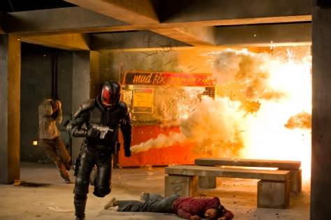Joe Alblas/Lionsgate PublicityDredd (Karl Urban) dodges an attack.