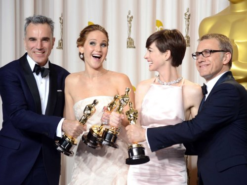 The 2013 Oscar acting winners - Best Actor Daniel Day-Lewis, Best Actress Jennifer Lawrence, Best Supporting Actress Anne Hathaway and Best Supporting Actor Christoph Waltz