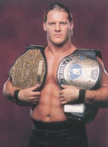 Chris Jericho with WCW and WWF world title belts