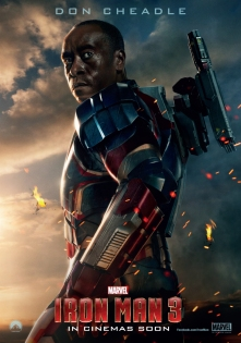 "Don Cheadle as James Rhodes/Iron Patriot in ""Iron Man 3."""