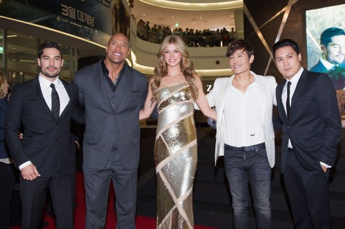 Han Myung-Gu/Getty Images[From left] Actors D.J Cotrona, Dwayne Johnson, Adrianne Palicki, Lee Byung-Hun and director Jon M. Chu pose for meida during the 'G.I. Joe - Retaliation' Seoul World Premiere at Times Square on March 11 in Seoul, South Korea.