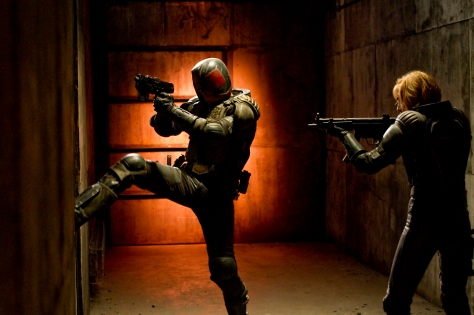 "Joe Alblas/Lionsgate PublicityJudge Dredd (Karl Urban) and Anderson (Olivia Thirlby) in ""DREDD 3D."""