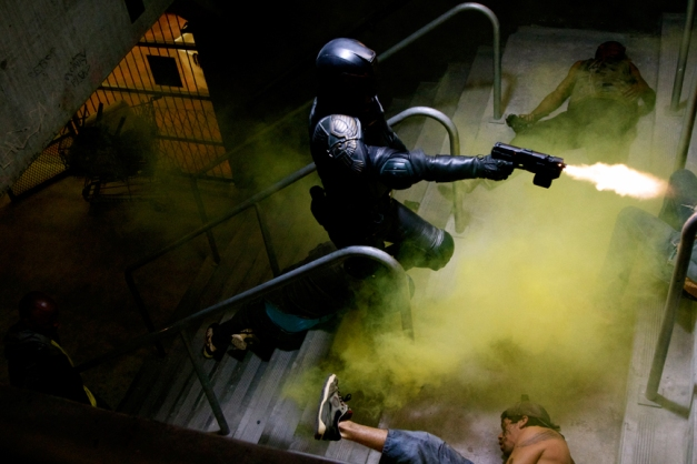 Joe Alblas/Lionsgate PublicityDredd (Karl Urban) makes quick work of an ambush.