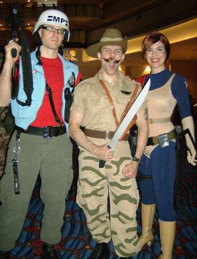 GI Joe costumes Law, Recondo and Scarlett