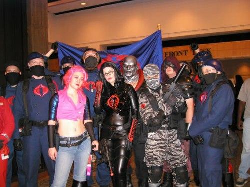 GI Joe costumes Zarana, Destro, The Baroness, Zartan and Firefly with troops