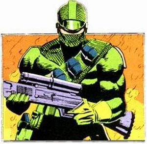 GI Joe Firefly in green outfit; 2nd costume