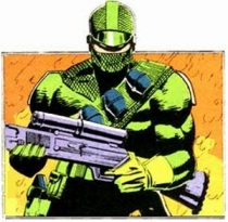 GI Joe Firefly in green outfit; 2nd costume