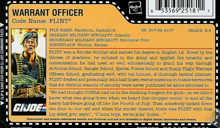 GI Joe Flint file card