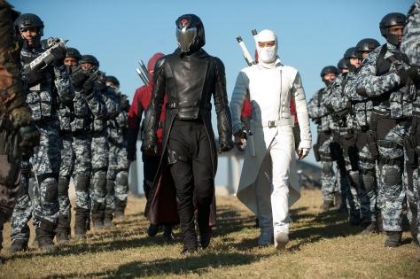Jamie Trueblood/Paramount PicturesCobra Commander (Luke Bracey) and Storm Shadow (Byung-Hun Lee) lead the Cobra troops.