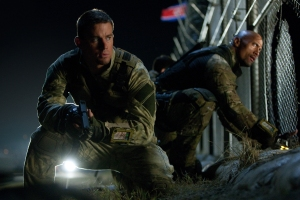 Jamie Trueblood/Paramount PicturesDuke (Channing Tatum) and Roadblock (Dwayne Johnson) prepare to enter enemy forces.