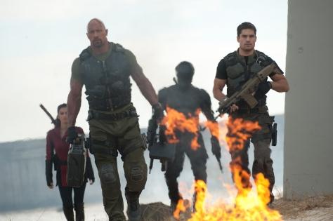 Jamie Trueblood/Paramount PicturesJinx (Elodie Yung), Roadblock (Dwayne Johnson), Snake-Eyes (Ray Park) and Flint (D.J. Cotrona) in