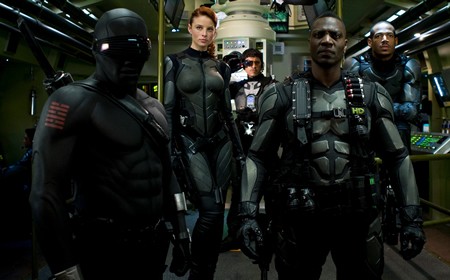 GI Joe Rise of Cobra Snake Eyes, Rachel Nicholas as Scarlett, Heavy Duty and Marlon Wayans