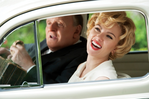 "Anthony Hopkins as Alfred Hitchcock and Scarlett Johansson as Janet Leigh in ""Hitchcock."""
