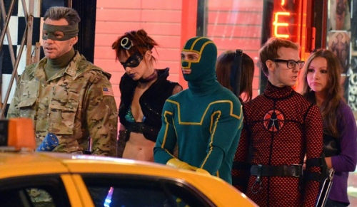 "Colonel Stars and Stripes (Jim Carrey) and Kick-Ass (Aaron Taylor-Johnson) lead the rest of Justice Forever on patrol in ""Kick-Ass 2."""