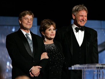 Mark Hamill, Carrie Fisher and Harrison Ford from Star Wars