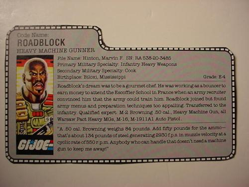 Roadblock action figure file card
