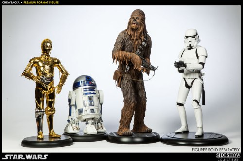 Sideshow Collectibles Chewbacca Star Wars premium format figure with C3-P0, R2D2 and Stormtrooper