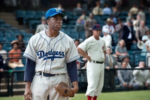 "D. Stevens/Warner Bros. Pictures CHADWICK BOSEMAN as Jackie Robinson in Warner Bros. Pictures' and Legendary Pictures' drama ""42."""