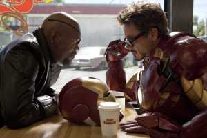 Iron Man 2 Samuel L Jackson as Nick Fury and Robert Downey Jr. as Iron Man