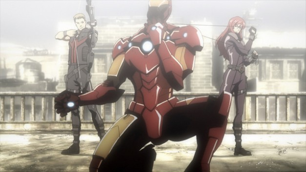 Iron Man Rise of Technovore Hawkeye, Iron Man and Black Widow