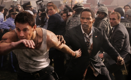 "Reiner Bajo/Columbia Pictures Industries Channing Tatum and Jamie Foxx star in Columbia Pictures' ""White House Down."""