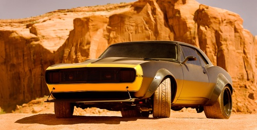Bumblebee as a highly modified, vintage 1967 Camaro SS.