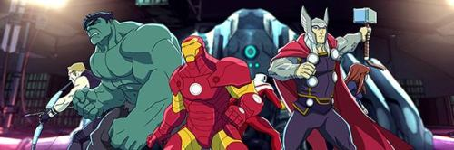 Hawkeye, Hulk, Iron Man and Thor in Avengers Assemble