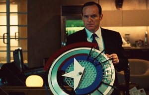 Iron Man 2 Clark Gregg as Agent Coulson with Captain America shield