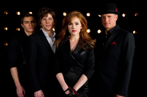 """Barry Wetcher/ Summit Entertainment (From left) DAVE FRANCO, JESSE EISENBERG, ISLA FISHER and WOODY HARRELSON star in """"NOW YOU SEE ME."""""""