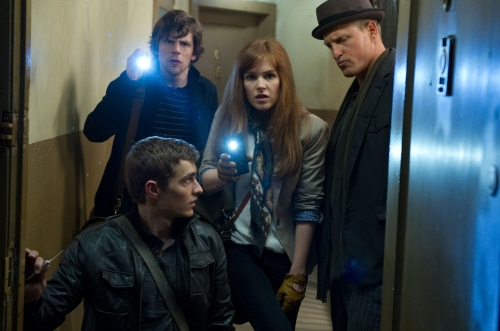 Barry Wetcher/Summit Entertainment (Clockwise from bottom) DAVE FRANCO, JESSE EISENBERG, ISLA FISHER and WOODY HARRELSON.