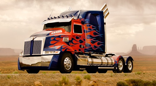 The completely upgraded, custom-built Optimus Prime from Western Star (a subsidiary of Daimler Trucks North America).