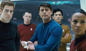 Star Trek 2009 movie Chris Pine as Kirk, Simon Pegg as Scotty, Karl Urban as Bones, Jon Cho as Sulu and Zoe Saldana as Uhura