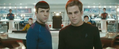 Star Trek 2009 movie Zachary Quinto as Spock and Chris Pine as Kirk