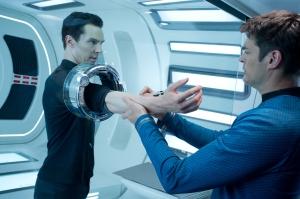 Zade Rosenthal/Paramount Pictures John Harrison (Benedict Cumberbatch) gets tested by Bones (Karl Urban).