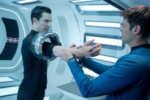 Zade Rosenthal/Paramount Pictures John Harrison (Benedict Cumberbatch) gets tested by Bones (Karl Urban).