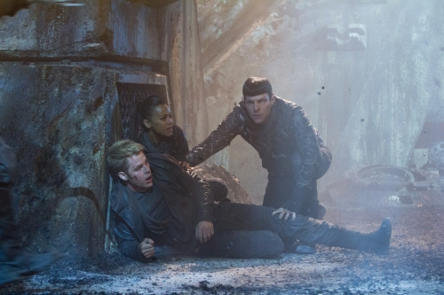 "Zade Rosenthal/Paramount Pictures (From left) Chris Pine is Kirk, Zoe Saldana is Uhura and Zachary Quinto is Spock in ""STAR TREK INTO DARKNESS."""