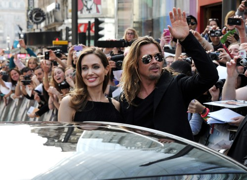 Stuart C. Wilson / Getty Images  Angelina Jolie and Brad Pitt at the Global Premiere of WORLD WAR Z, from Paramount Pictures and Skydance Productions, in association with Hemisphere Media Capital and GK Films, at Leichester Square in London.
